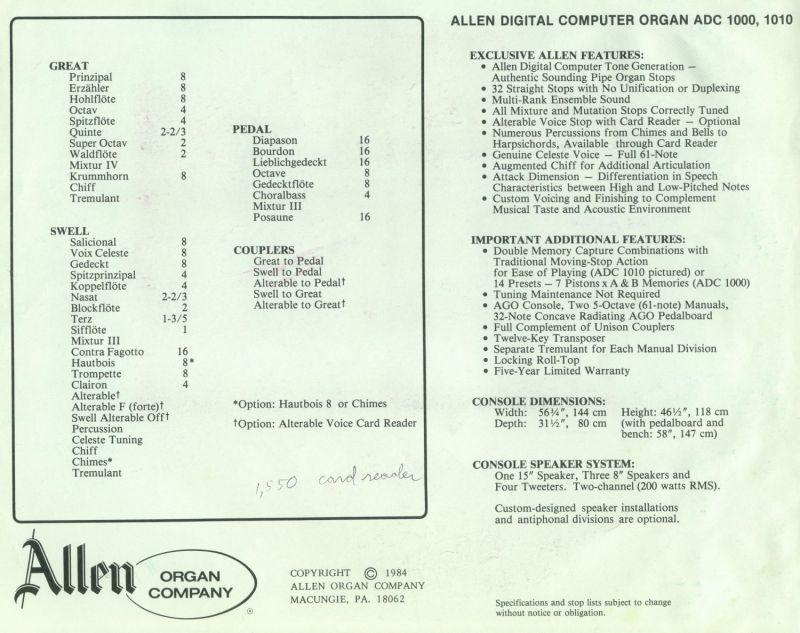 Organ Brochures - Allen ADC-1000 & ADC-1010 Brochure - The