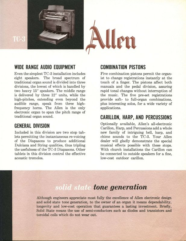 Organ Brochures - Allen Organs TC-3 Part 3/4 - The Organ