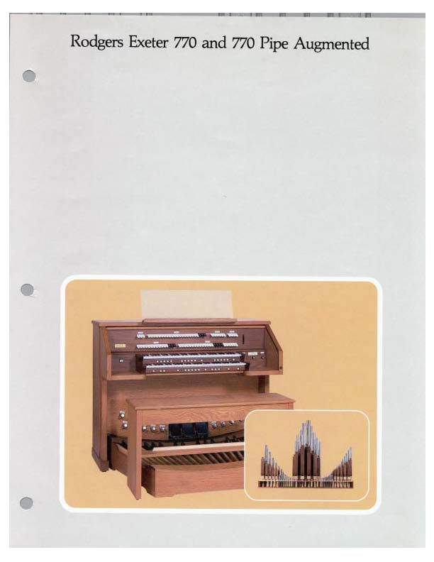 Organ Brochures - Rodgers 770 (Exeter) Brochure - Page 1